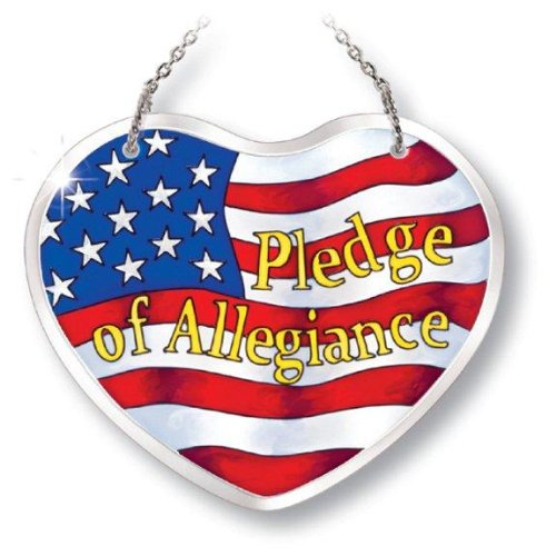 - Amia Beveled Glass Suncatcher Hand-Painted Heart Shape, Pledge of Allegiance, 5 by 4-1/8-Inch