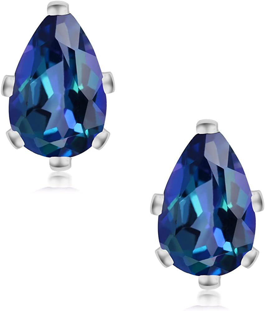 Gem Stone King 2.00 Ct Neptune Mystic Topaz Sterling Silver 6-Prong Stud Earrings 8x5mm