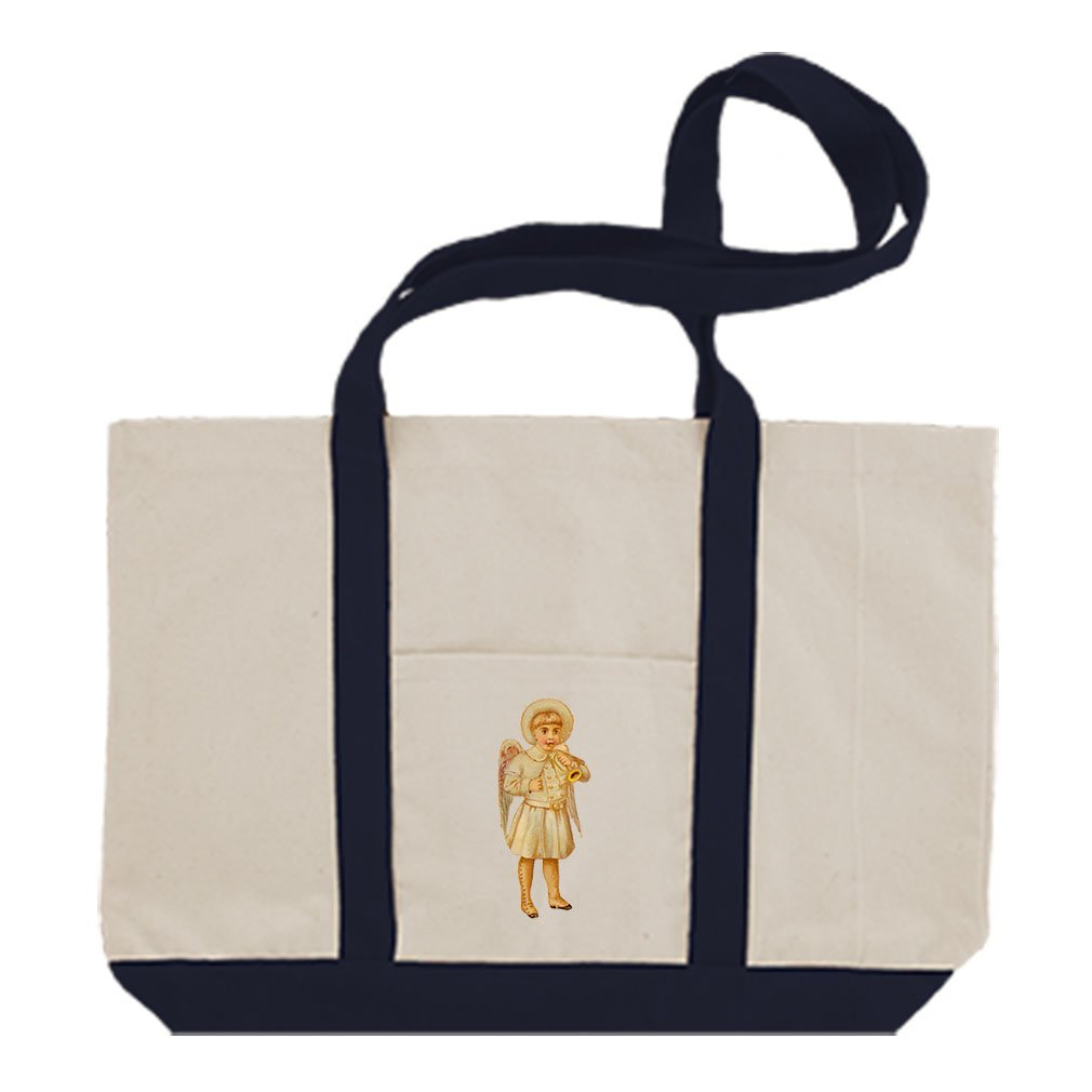 Canvas Boat Tote Bag Baby Boy Angel White Coat Plays Trumpet By Style In Print | Navy