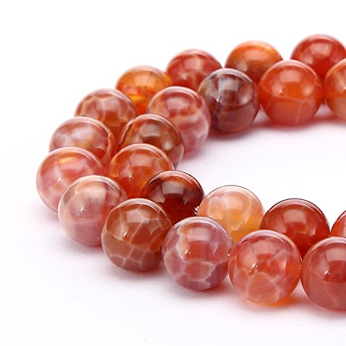 BRCbeads Fire Agate Natural Gemstone Loose Beads Round 10mm Crystal Energy Stone Healing Power for Jewelry Making- Red