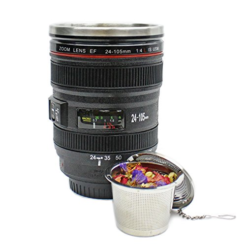 GIANT SKY LIVING's Photographer's Camera Lens Tea and Coffee Mug with Lid and Tea Infuser - Black, Travel Cup, Stainless Steel Interior, Rubber Grip, Food Grade ABS Plastic Exterior - Zoom EF 24-105mm