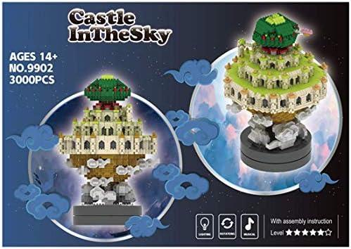 Architectuur Rotable Castle Model met muziek bouwstenen, 3000 stuks Mini Nano stenen Modulaire bouwset, cadeau