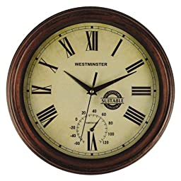 Luster Leaf 20052 York Outdoor Clock with Thermometer