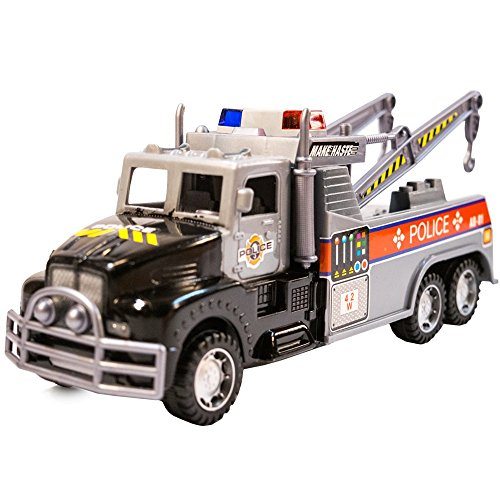 (TukTek Kids First Super Police Tow Semi Truck Assorted Colors Friction Power Push Tractor for Boys & Girls)