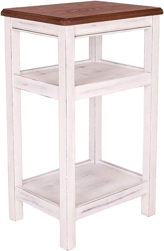 Amazon.com: Grafzeal Mesa auxiliar rústica, de madera de ...