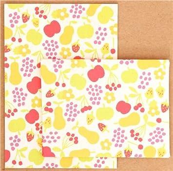 Lindo juego papel de cartas mini con flores manzanas Japón
