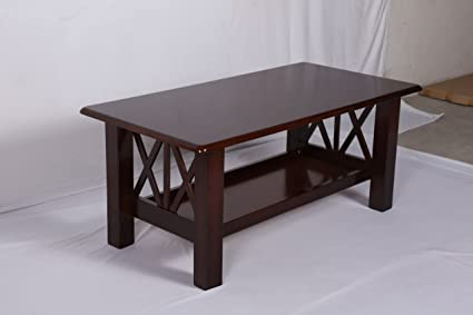 T2A Cubix Wooden Coffee Table   Heavy Duty Solid Wooden Top Center Table  With Bottom Rack