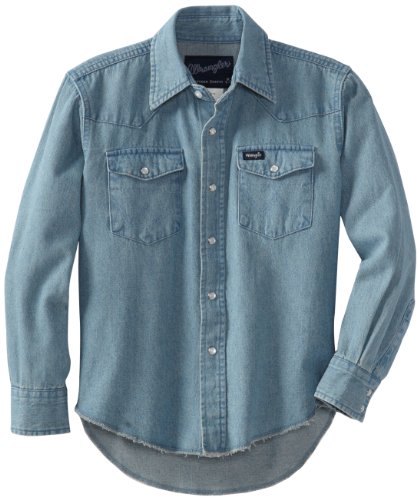 Stonewashed Denim Shirt - Wrangler Boys' Western Solid Snap Shirt, Stonewashed Indigo, L