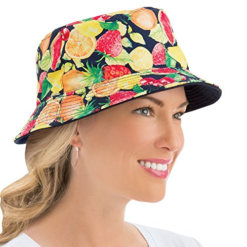 Ladies Summer Print Reversible Bucket-Style Sun Hat, Fruit, One Size -