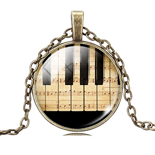 Womens Elegant Piano Music Note Glass Cabochon Art Pendant Sterling Silver Chain Necklace