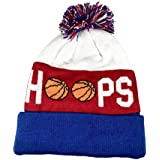 TravelTeamSports Pom Pom Youth/Teen Knitted Fleece Lined Beanie Hats w/Basketball Logo (Red/White/Blue)