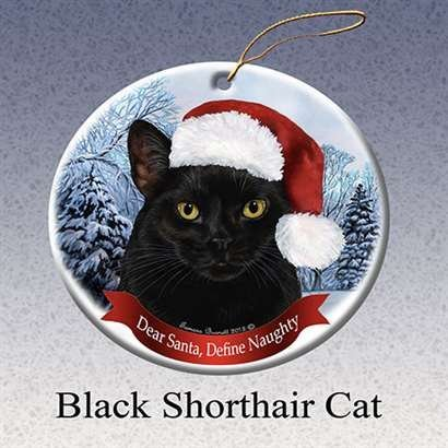Holiday Pet Gift Black Shorthair Cat Santa Hat Porcelain Christmas Tree Ornament (Black Cat Christmas Ornament)