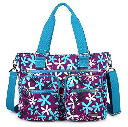 Crest Design Water Repellent Nylon Shoulder Bag Handbag, 14 inch Laptop Bag Notebook Briefcase Travel Work Tote Bag (One Size, Laurentia)