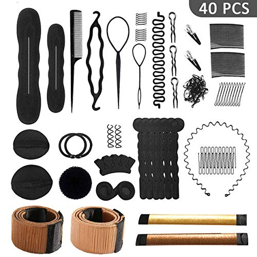 40 Pcs Hair Styling Accessories Kit Set Bun Maker Hair Braid Tool for Making DIY Hair Styles Black Magic Hair Twist Styling Accessories for Girls or Women