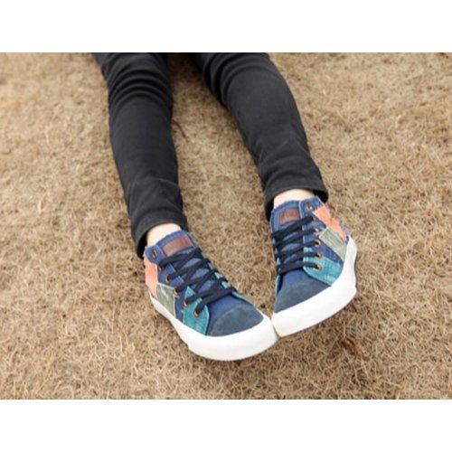Toile Chaussures Textile 2015 Baskets Bleu Style Anga Tendance Angatrade Patchwork Hautes 35 Femme OH8xtOn