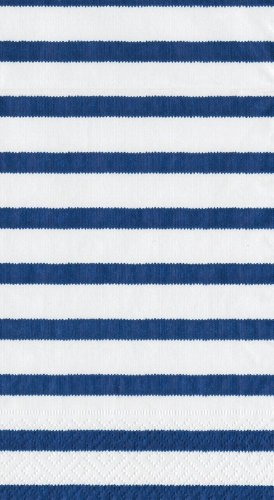 Striped Taper Candles (Caspari Entertaining Bretagne Guest Towels, Blue, Pack of 15)