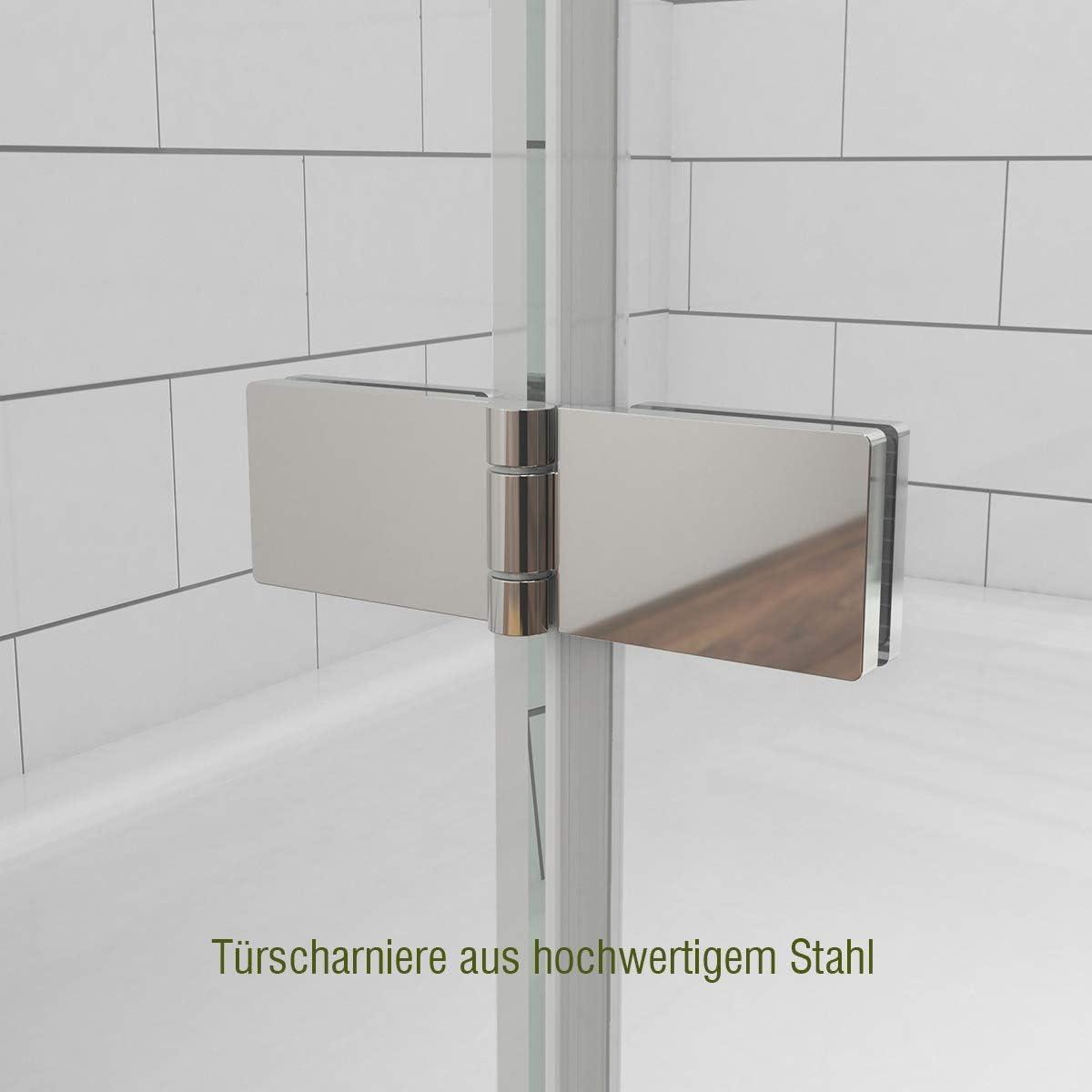 WELMAX Duscht/ür Faltt/ür Dusche Schwingt/ür Scharnier Duschkabine Nischent/ür 70 cm Duschabtrennung Klarglas 6mm ESG Sicherheitsglas H/öhe 185cm