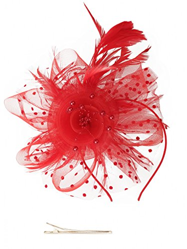 Fascinators Hat for Women Tea Party Headband Kentucky Derby Wedding Cocktail Flower Mesh Feathers Hair Clip -
