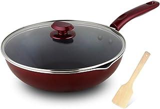 X_love Saucepan Wok Sartén Antiadherente Sartén Wok - Herramienta de Cocina de inducción de Gas con Menos Humo de Gas de Gas (Tamaño : Caliber30cm)