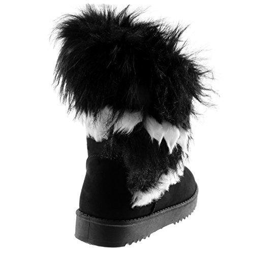 Angkorly Damen Schuhe Stiefeletten - Schneestiefel - Pelz Flache Ferse 3 cm Schwarz