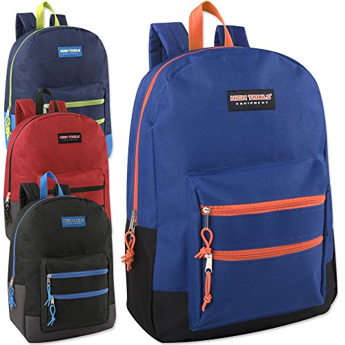 Double Zip Backpack - Wholesale High Trails 18 Inch Double Zip Backpack (Boys 4 Color Assorted)