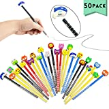 Etmact 50 Pack Assorted Colorful Cartoon Animal Pencil With Eraser Novelty Dot & Stripe Giant Eraser Topper Kids Pencils