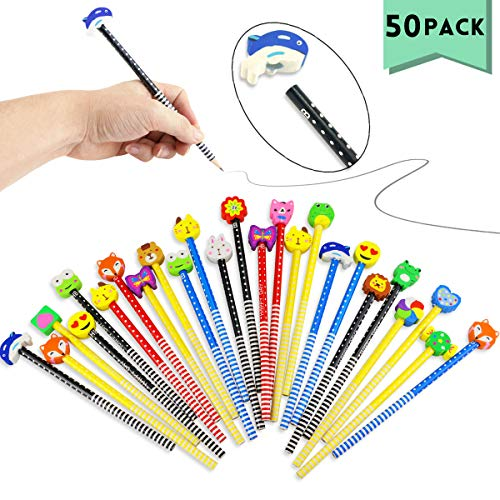 Etmact 50 Pack Assorted Colorful Cartoon Animal Pencil With Eraser Novelty Dot & Stripe Giant Eraser Topper Kids Pencils