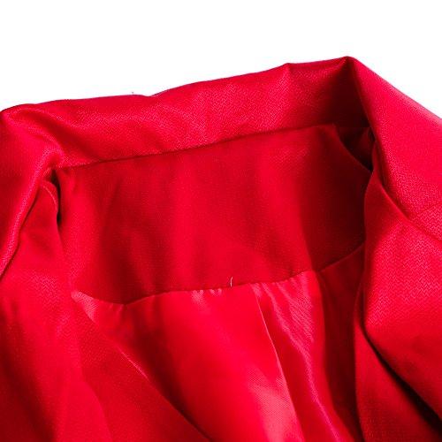 Homme Morue Slim De Col Rera Manches Longue Steampunk Gothique Rouge Queue Costume Boutonné Mao Jacket Manteau Coat Veste Cosplay Halloween Capuche Tailcoat Fit Longues d0IIq8