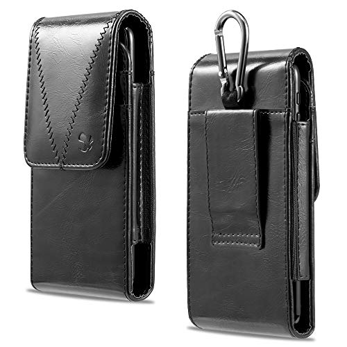 LUXMO Vertical Leather Case Portable Genuine Leather Pouch Holster Flip Protective Carrying Cover with Rugged Magnetic Closure and Hanging Ring Belt Loop Fit iPhone 6 6S 7 8 (Black)