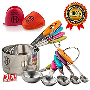 HARTMAN KITCHEN Measuring Cups & Spoons Set Of 10 | Rust Proof Stainless Steel Scoops With Anti-Slip Colorful Silicone Handles | Stackable & Engraved Measurements For Dry Food & Liquids | Bonus Gloves