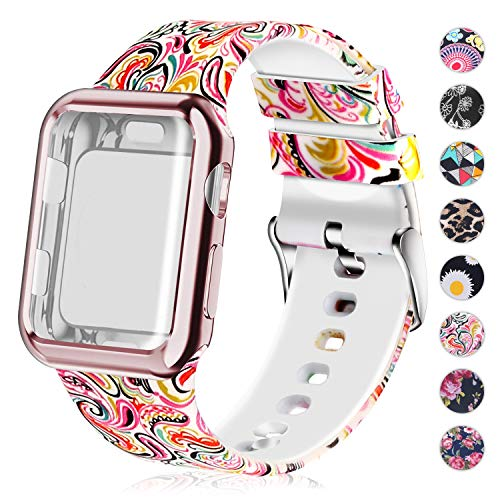 Compatible for Apple Watch Band with Screen Protector Case, Soft Silicone Sport Wristband for Apple Watch iwatch Series 3 2 1 (42mm,Painting)