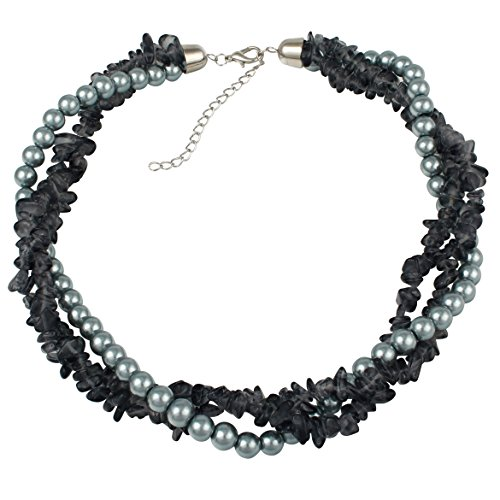 (Grey Faux Pearl and Black Chip Twist Necklace)