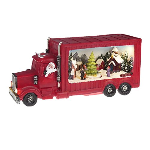Lightahead Musical Santa Truck Figurine with Christmas Scene, Turning Tree, LED Lights and 8 Melodies
