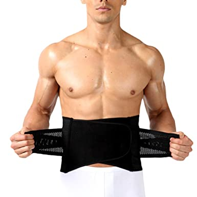 e069558def Zhhlaixing Mens Waist Trimmer Belt Sport Trainer Belt Trainning Trimmer  Weight Loss Belt Adjustable Breathable Back   Lumbar Support  Amazon.co.uk   Clothing