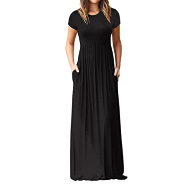 WINWINTOM Short Sleeve Maxi Dress, Womens Long Dress with Pockets Plain Loose Swing Casual Floor