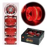 Sunset Skateboards Red 59mm Cruiser LED Light-Up Wheels Set with ABEC-7 Carbon Steel Bearings (4-Pack)