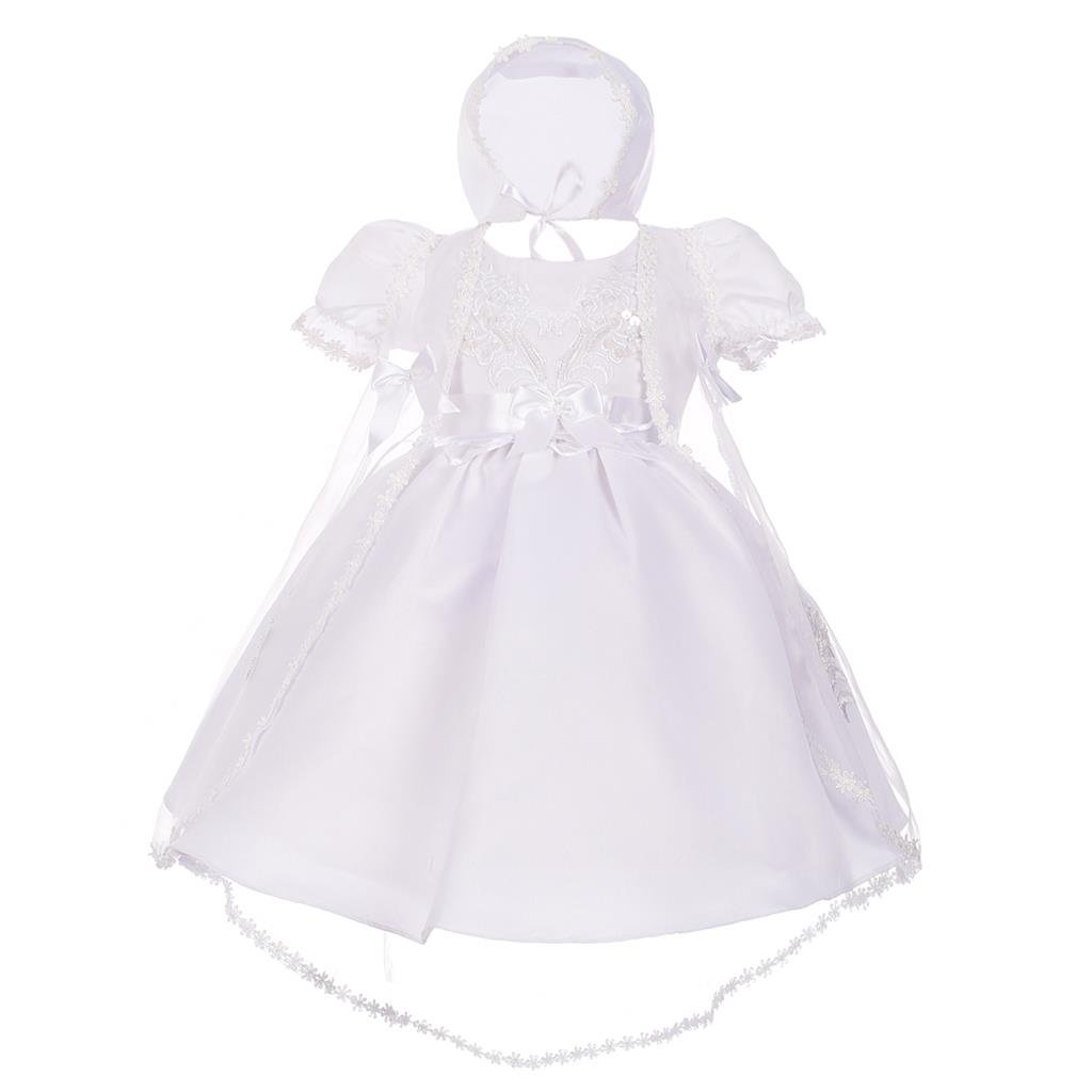 Lito Angels Baby Girls' Pearls Embroidered Baptism Christening Gown Dress With Cape Bonnet Infant Size 0-12 Months CN009