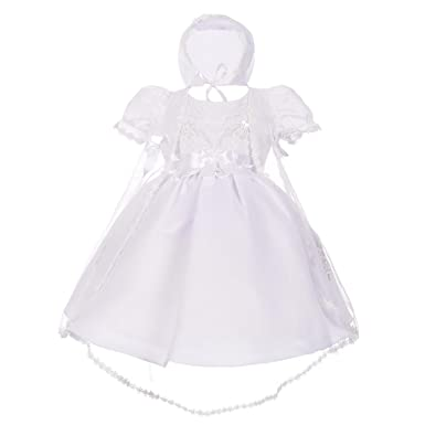 Lito Angels Baby Girls' Pearls Embroidered Baptism Christening Gown Dress  With Cape Bonnet Infant Size