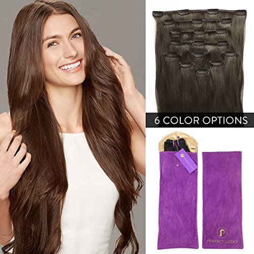 Premium-Straight-Clip-In-Hair-Extensions-Set-by-Perfect-Locks-Add-Volume-and-Length-with-100-Remy-Human-Hair-7-Piece-Clip-On-Set