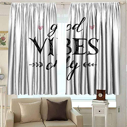XXANS Outdoor Patio Curtains,Good Vibes,Waterproof Patio Door Panel,W72x63L Inches Black White Pink