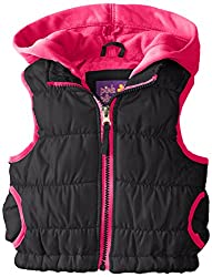 Pink Platinum Big Girls' Puffer Vest with Hood, Pink Glo, 10/12