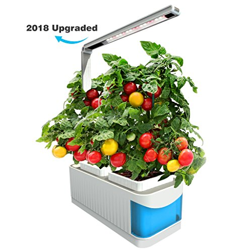 Finether Hydroponic Growing System Kit with LED Grow Light,2 Gardening Pots,360 Degree Adjustable Arm,Low Water Alarm,Sensitive Touch Control for Home,Indoor,Kitchen,Plants,Herbs,Blue(2018 Advanced) by Finether