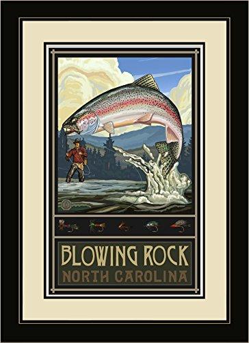 Northwest Art Mall RTFH Blowing Rock North Carolina Rainbow Trout Fisherman Hills Framed Wall Art by Artist Paul A. Lanquist, 16