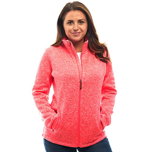 Speckled Coral (TrailCrest Ladies Unique Speckled Zip Up Sweater Jacket-Heather Knit Classic All Season Collection)