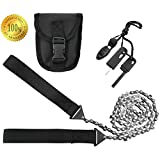 Pocket Camping Survival Gear - 36 Inch Pocket Chainsaw & Firestarter Emergency Kit -Magnesium Rod Fire Starter -Handsaw For Wood & Tree Cutting- Hiking, Picnic, Backpack Multitool Camp Saw By SUMPRI