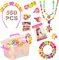 Barwa Set 550 PCS Pop Snap Beads Pop-Arty Bead Toy for Kids and Toddlers DIY Beads Toy Made Jewelry Necklaces Bracelets...