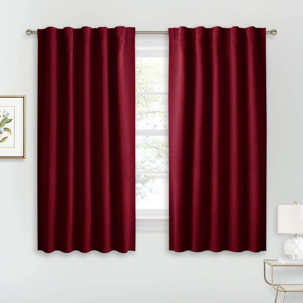 RYB HOME Cafe Window Curtains - Heavy Duty Solid Drapes with Back Tab/Rod Pocket Top, Thermal Insulated Panels for Wedding Holiday Girl Bedroom Nursery, W 42 x L 54, Burgundy Red, 1 Pair