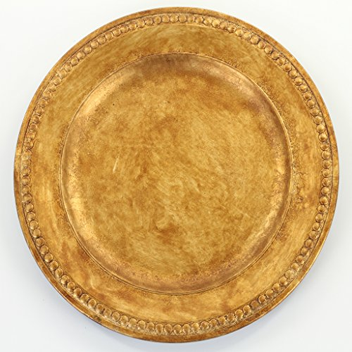 (Koyal Wholesale Vintage Gold Beaded Gilt Charger Plates, 4-Pack)