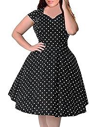 Women's 1950s Style Polka Dot Pattern Vintage Plus Size Swing Dresss