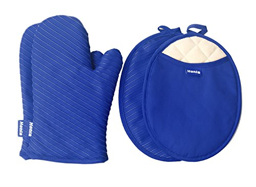 Honla Pot Holders and Oven Mitts Gloves with Silicone Printed,2 Hot Pads and 2 Potholders Set,4 Piece Heat Resistant Kitchen Linens Set for Cooking,Baking,Grilling,Barbecue,Blue